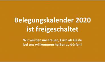 Belegungskalender 2020 ist freigeschaltet!